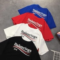"""Balenciaga"" Unisex Casual Fashion Wave Stripe Letter Print Short Sleeve Couple T-shirt Top Tee"