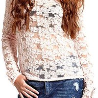 Free People Women's Ballet Pink Floral Stretch Sheer Lace Top, Size Medium