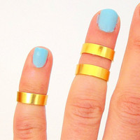 Gold Band Above The Knuckle Ring - Gold  Band  Knuckle Rings - Set of  3 by Tiny Box -