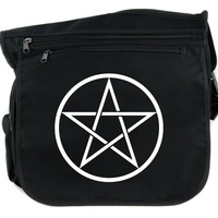 White Woven Pentacle Cross Body Messenger School Bag Witch Occult