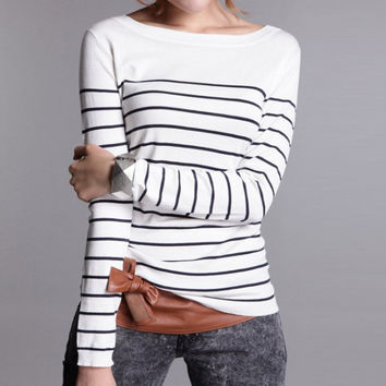 Hot Sale Women's Knitted Cashmere Sweater Plus Size Stripe Wlack White  Woman Winter Clothes Pullover Base Shirt
