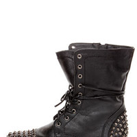 Georgia 28 Black Studded Lace-Up Combat Boots