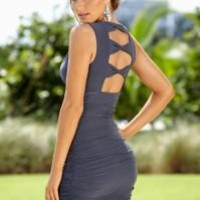 Cut out back ruched dress