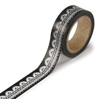 DARICE 1217-143 Washi Tape Roll, 5/8 by 315-Inch, White with Black Doily Lace