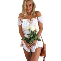 SIMPLY CHIC FLORAL OFF-THE-SHOULDER ROMPER