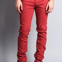 Men's Skinny Fit Colored Jeans (Picante)