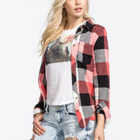 Polly & Esther Womens Basic Flannel Shirt Coral Combo  In Sizes