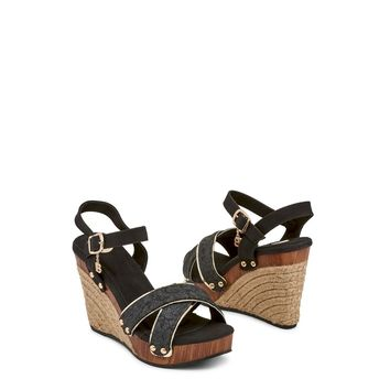 Laura Biagiotti Snake Skin Wedge Sandals-Black