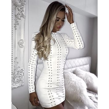 Alessia White Bandage LACE-UP mini Dress