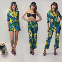 Vintage 60's 70's Rare 2-Piece Botanical PSYCHEDELIC Micro Mini Dress And High Waisted Bellbottom Pantsuit    3 In 1 Outfits    Size Small