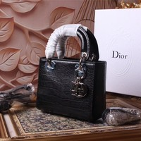 DIOR WOMEN'S CROCODILE LEATHER LADY DIOR HANDBAG SHOULDER BAG