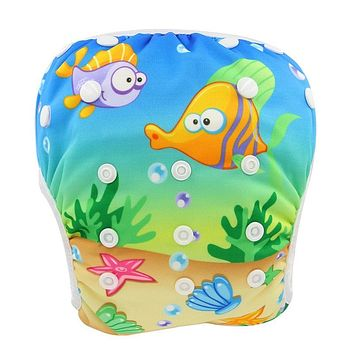 Washable Baby Diapers Cute Patterns Printed Swim Diaper 2018 Unisex Newborn Fralda Waterproof Cloth Diapers Baby Swimming Nappy