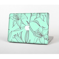The Teal & Brown Thin Flower Pattern Skin Set for the Apple MacBook Air 11""