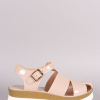 Buckled Fisherman Jelly Flatform Sandal