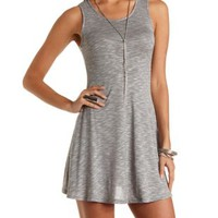 Heathered & Sleeveless Skater Dress by Charlotte Russe