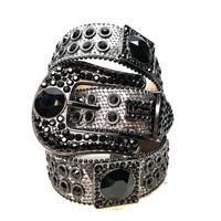 B.B. Simon Big Block Black Swarovski Crystal Belt