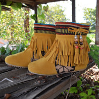 Winnie May May Moccasin Fringe Mustard Boots