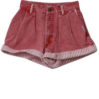 80s Retro Shorts: 80s -Georges Marciano for Guess- Womens faded red, cotton denim shorts with white and red striped fold up cuffs, button/zip front closure with pleating along the front, two side entry pockets and standard size striped belt loops.