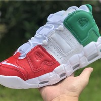 [ Free Shipping ]Nike Air More Uptempo '96 QS Euro City Italy Milan Green Red Pippen AV3811-600 Basketball Shoes