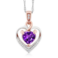 "10K Two-Tone Gold Amethyst and Diamond Heart Shape Pendant Necklace w/ 18"" Chain"
