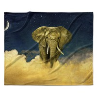 "Nick Atkinson ""Celestial Elephant"" Black Blue Fleece Throw Blanket"