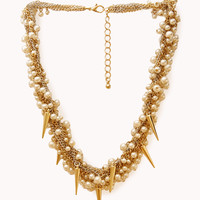 Pretty Tough Faux Pearl Spiked Necklace