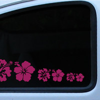 Hibiscus Flower Family Vinyl Decal Logo Dad Mom Son Daughter baby Hawaii Surf Ocean relaxation