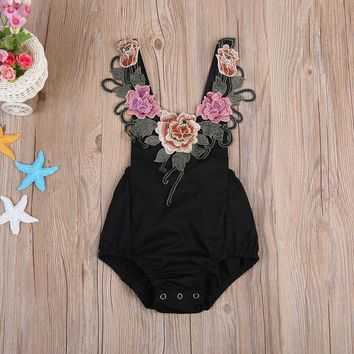 Newborn Infant Kids Baby Girls Flower Clothes Jumpsuit Romper Playsuit Outfits