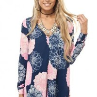Blue and pink floral print romper