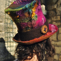 Rainbow Felt Top Hat- 'The Mad Hatter' - hand felted & hand dyed wool - purple green pink blue multicolor - Handmade ARtWeAR - MADE to ORDER