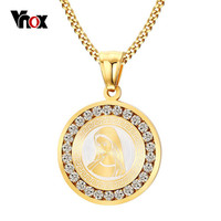 Vnox  Gold-color Virgin Mary Necklace Women Religious Prayer Necklaces & Pendants Jewelry with CZ Stone