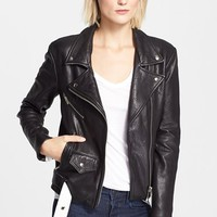 Women's Veda 'Jayne' Leather Moto Jacket,