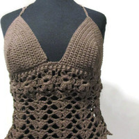 Sexy brown lace halter top with flowers