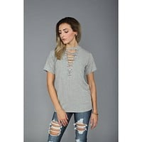 Laced Up Choker French Terry Tee