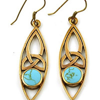 Bronze Filigree Celtic Trinity Knot Dangle Earrings Gemstone Inlay Fish Hook Vintage Thailand Jewelry (Turquoise Inlay)