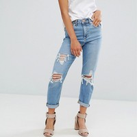 ASOS PETITE FARLEIGH High Waist Slim Mom Jeans in Miracle Light Wash with Rips at asos.com