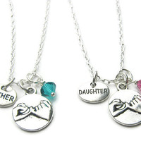 2 Pinky Promise Mother Daughter Swarovski Birthstone Necklaces, Mother Daughter Necklaces, Mother Daughter Jewelry, Mother Daughter Gift