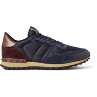 Valentino - Suede and Leather-Trimmed Mesh Sneakers | MR PORTER