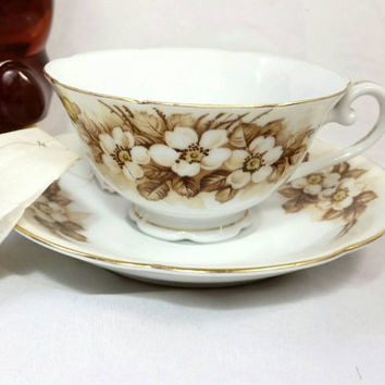 Vintage Occupied Japan Teacup and Saucer/Brown Cherry Blossom Gold Cup and Saucer/Japan Footed China Tea Cup