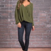 Get To Work Blouse, Olive