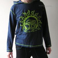 UV - Mushrooms Men's  Psy  Party  Shirt with Hood  - M size  -  XL size  - Cotton - Rave