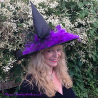 Glamorous Witch Hat with Purple Feathers and Sparkles