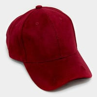 Burgundy Faux Suede Baseball Cap With Velcro Closure, One Size Fits All, Unisex Gift Idea