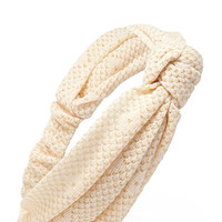 FOREVER 21 Knotted Open-Knit Headwrap Peach/Gold One