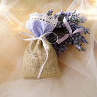 Lavender Wedding, Favor Bag, Burlap Gift Sachet, Nautre Inspired Accessorie, Burlap and Lace Favors, Polka Dotted Baby Shower Gift