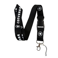 Black & White Logo Keychain Key Chain Black Lanyard Clip with Webbing Strap Quick Release Buckle (PCK-009)