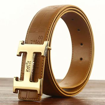 Hermes New fashion leather leather couple leisure belt Brown