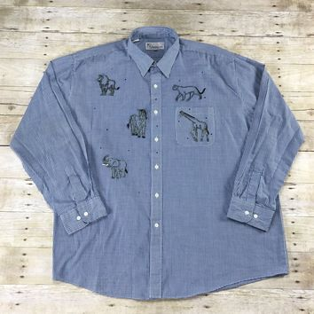 Vintage 90s Sparkley Animal Patches Blue Button Up Shirt Mens Size XXL