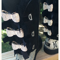 Custom Order!!! Tall black Bailey Bow Ugg boots, Blinged with Bows. Swarovski monogram. ***CUSTOM ORDER ONLY***