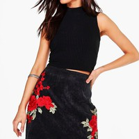 Arizona Rose Applique Cord A Line Skirt | Boohoo